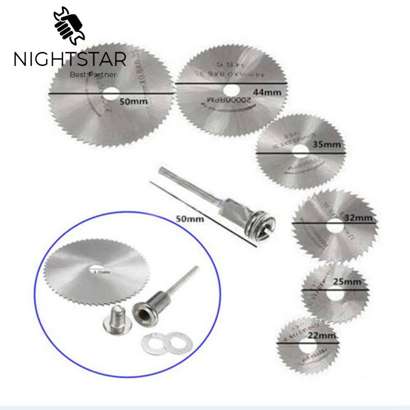 6Pcs HSS Circular Rotary Blade Wheel Discs Mandrel For Metal Rotary Tools + 1 Extension Mandrel Krachtige Saw Blades