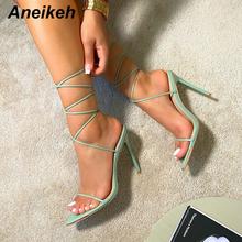 Aneikeh Sexy szpilki sandały wiązane na krzyż panie Peep Toe moda Gladiator Party Metal Decoratio obuwie damskie 2021 nowe lato cheap CN (pochodzenie) Pasek stawu skokowego Cienkie obcasy Otwarta Super Wysokiej (8cm-up) 0-3 cm Lace-up Pasuje prawda na wymiar weź swój normalny rozmiar
