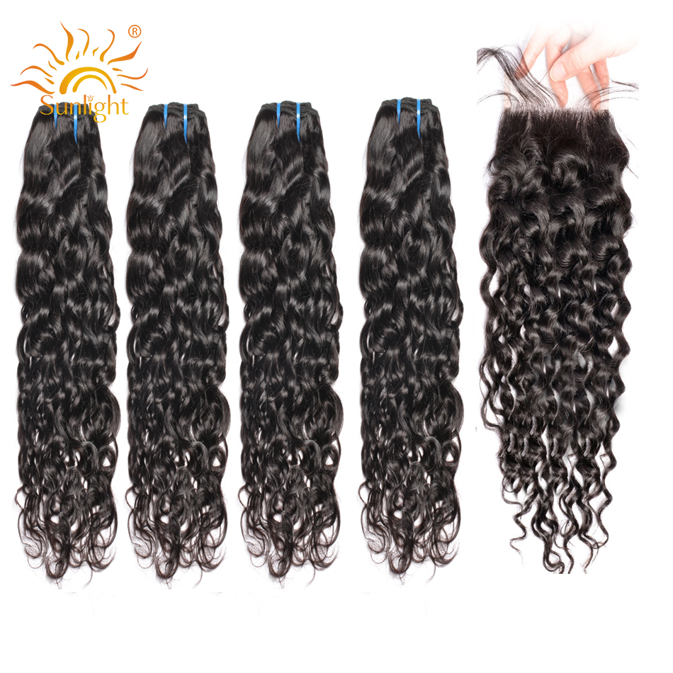 Brazilian Water Wave Bundles With Closure 4 Bundles Deal With Closure Sunlight Human Hair Weave Bundles & Lace Closure Non-remy