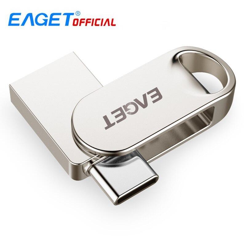 EAGET CU30 16GB/32GB/64GB/128GB Metal USB 3.0/Type-C Flash Drive Memory Storage Stick OTG Type C Pen Drive Mini U Disk For PC