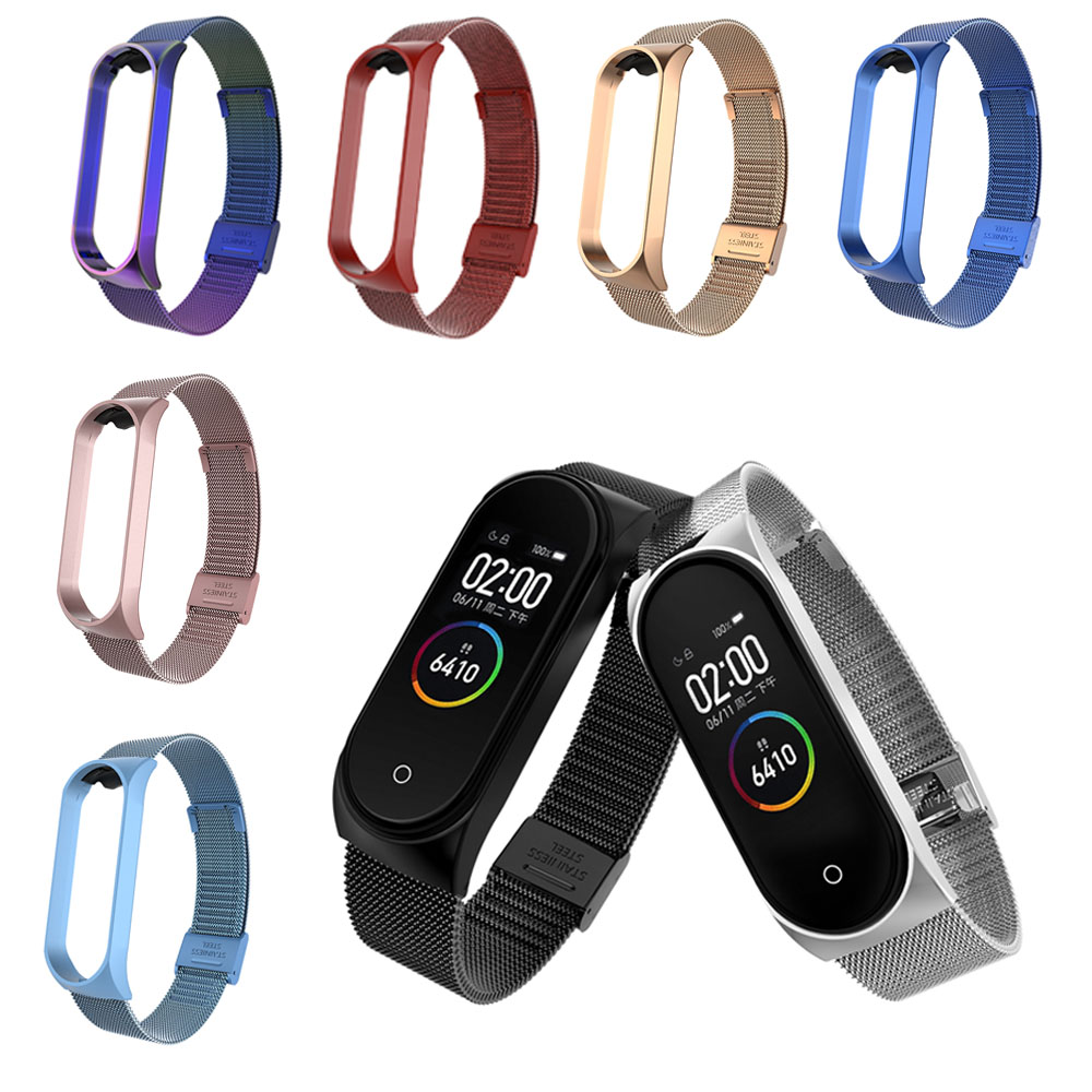 Metal Strap For Xiaomi Mi Band 3 4 Wristband For Mi Band 3 4 Strap Bracelet Screwless Stainless Steel Wristbands