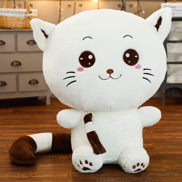 Cute Big Face Cat Plush Toys Face Smiling Stuffed Doll Baby Toys Soft Peluche Animal Pillow  Kids Girl Birthday Gift