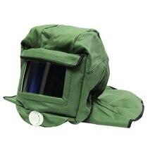 Capuz de lona de areia, boné de proteção contra poeira, lixa, máscara de proteção