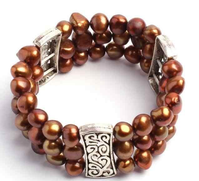 Biżuteria bransoletka perłowa ładna 8-9mm brązowa naturalna perła słodkowodna moda elastyczność bransoletki biżuteria darmowa wysyłka