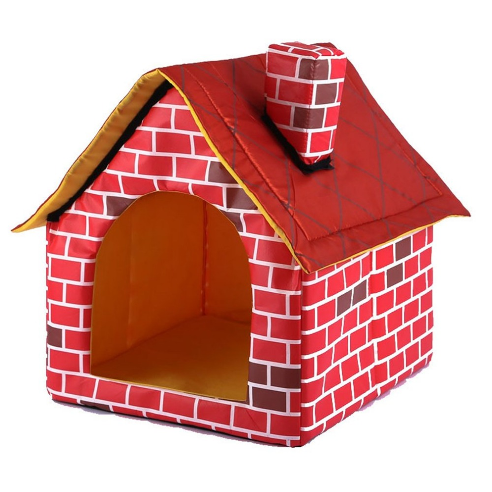 Portable Brick Pet House With Chimney Warm And Cozy Dog Cat Bed Detachable Washable Pet Tent Suitable For All Seasons Cushion 6