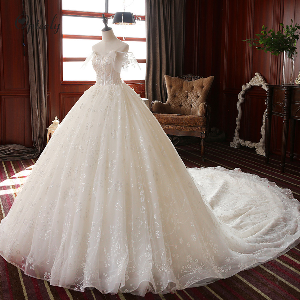 Optcely Robe De Mariee Fairytale Ball Gown Romantic Off-the-shoulder Wedding Dress 2019 Train Appliques Beaded Retro Bride Gowns