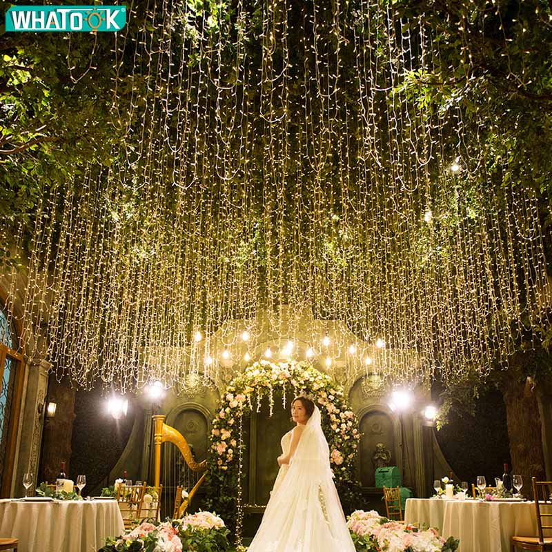 220V EU  Warm White LED String Light Wedding Fairy Lighting Curtain Icicle Garland Christmas Xmas Indoor Outdoor Home Party Gard