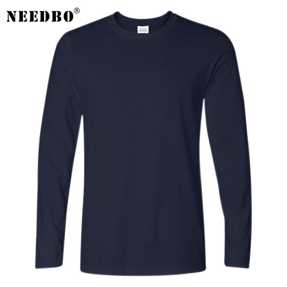 Fast Shipping Mens Cotton T-Shirt Men Long Sleeved O-Neck Solid Color Casual Men T Shirt Plus Size Tee-Shirt Homme Male Tops Tee