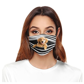 3d Dog Print Unisex Masks Women Men Mouth Face Cover Stripe Pet Funny Mouth-muffle Washable Reusable Mask With Filters Pocket