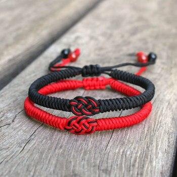 Noter Bracelet de cha ne rouge chanceux hommes femmes la main r glable armure Braslet Couple