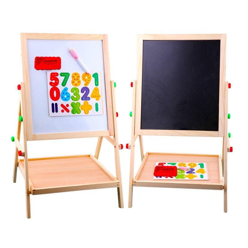 Enfants en bois levage double face magnétique planche à dessin chevalet croquis graffiti peinture cadre puzzle apprentissage tableau noir jouet