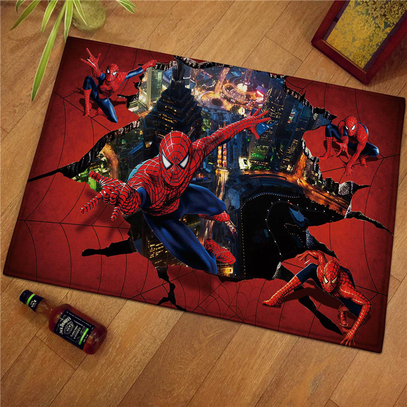 60x40cm Spiderman Children Welcome Floor Mats  Print Bathroom Kitchen Carpets Children Doormats For Living Room Kids Rugs