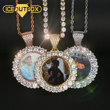 Custom Photo Heart Pendants Necklace With 4mm Zircon Tennis Chain Gold Silver Cubic Mens Hip hop Jewelry Personality