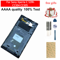 For Sony Xperia C S39h C2304 C2305 Touch Screen Glass Digitizer Sensor Panel + LCD Display Monitor Module Panel Assembly Frame