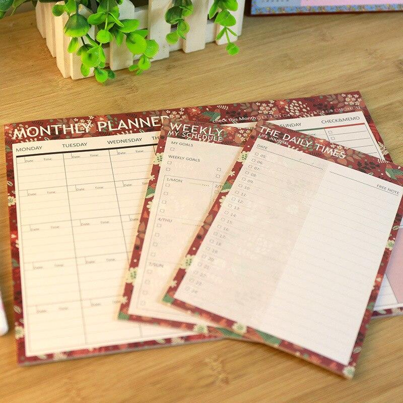 Coreia artigos de papelaria novo memorando bloco de notas mês dia planejador semanal mini caderno para estudante classmate presente adesivos escritório 365 plano