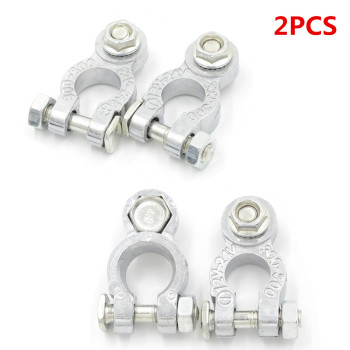 2Pcs Zinc Alloy Positive & Negative Cargo Type Coat Replacement Auto Car Battery Terminals Clamp Electric Connectors image