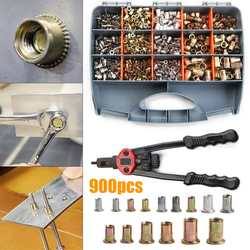 900 шт. M3 M4 M5 M6 M8 M10 Nutsert Rivnut набор ручных заклепок из нержавеющей стали с ручными заклепками заклепки с резьбой гайки пистолеты