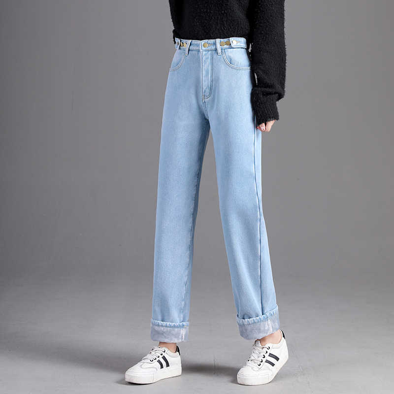 Ff626 2019 new autumn winter women fashion casual Denim Pants Plus cashmere thickening warm high waisted jeans