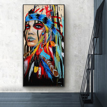 Watercolor Indian Woman with Feather Canvas Painting Indian Girl Posters and Prints Wall Art Pictures for Living Room Home Decor
