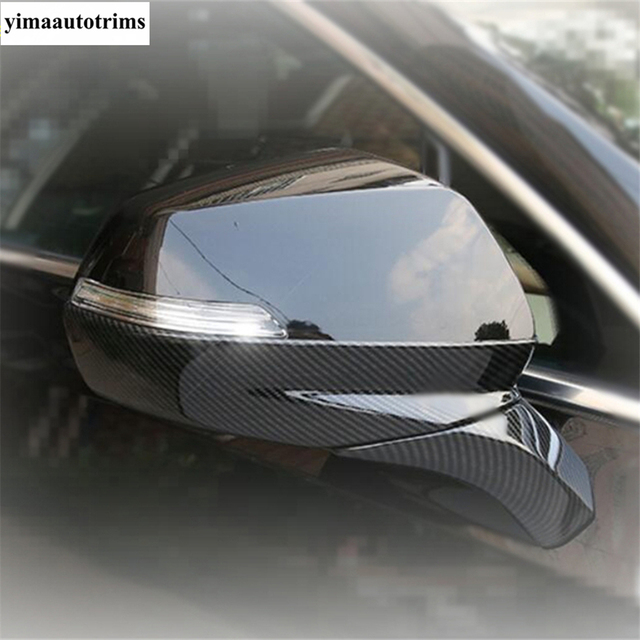 Door Rearview Mirror Protective Caps Stripes Cover Trim ABS Chrome / Carbon Fiber Look Exterior Fit For Cadillac XT4 2019 - 2021 6