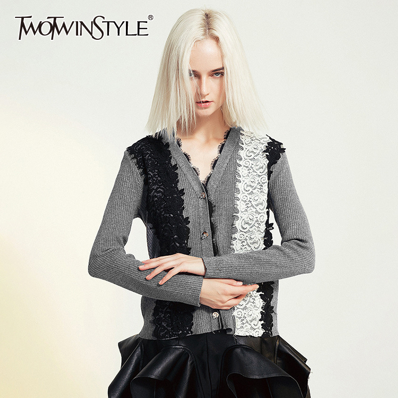 TWOTWINSTYLE Casual Knitting Womens Sweater V Neck Long Sleeve Patchwork Lace Hit Color Cardigans Female 2020 Autumn Fashion New