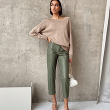 WOTWOY Elegant Spliced PU Leather Pants Women High Waist Office Lady Fomal Trousers Female Black Straight Pants with Pockets