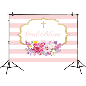 Image 4 - Allenjoy photography background pink communion birthday stripe gold frame flower backdrop Kid Event Party photocall photo studio
