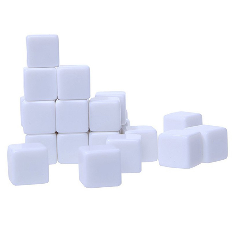 10 pcs/set White <font><b>Blank</b></font> <font><b>Dice</b></font> <font><b>16MM</b></font> <font><b>Dice</b></font> Standard 6 Sided Decider DIY <font><b>Dice</b></font> Game Acessorios image
