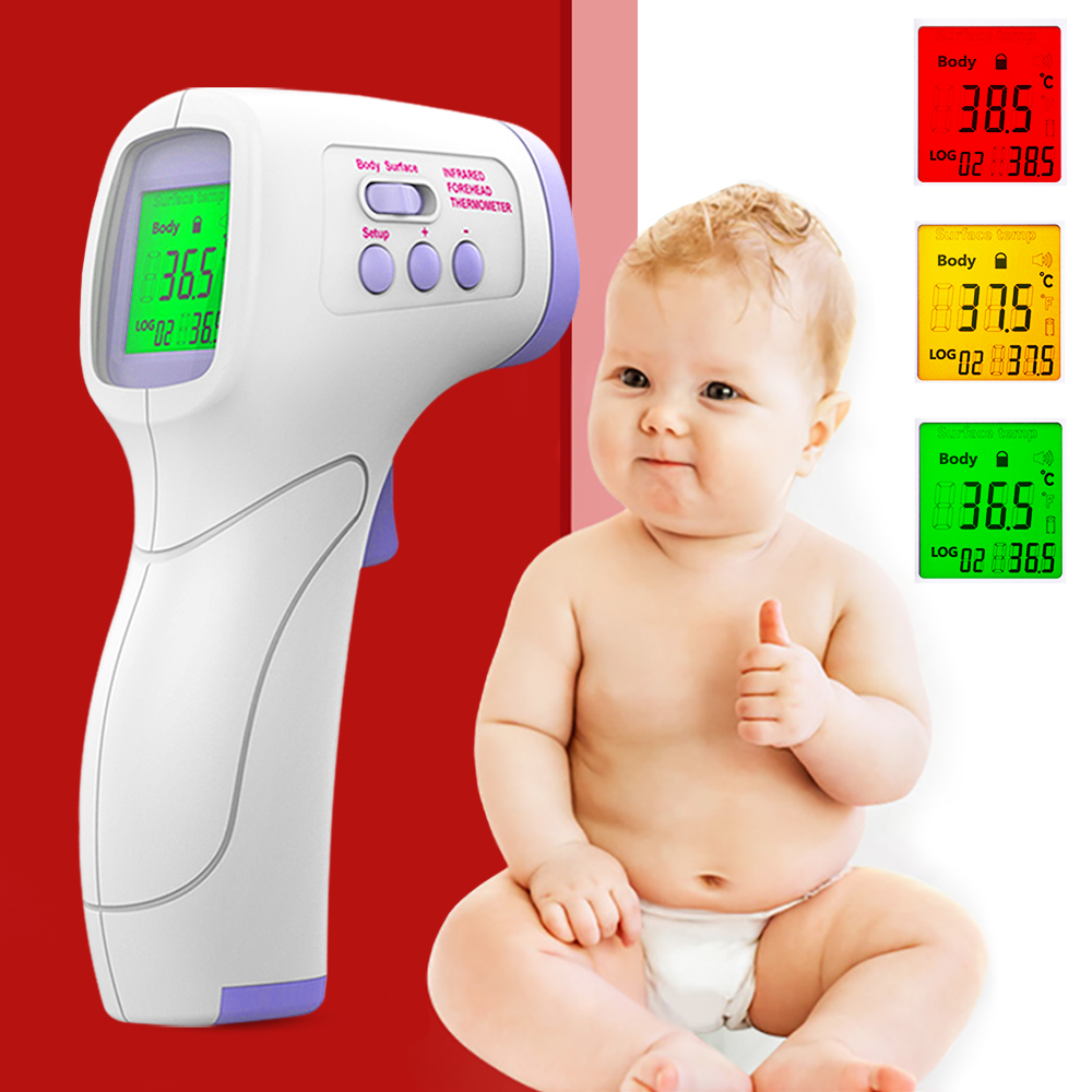 US Digital IR Infrared Temperature Meter Gun Non-contact Forehead Temperature Tool Fever Alarm Data Storage