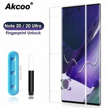 Akcoo UV película de vidrio de pegamento completo para Galaxy Note 20 Ultra Protector de pantalla para Samsung S10e Note 10 Plus S20 Ultra Protector de vidrio