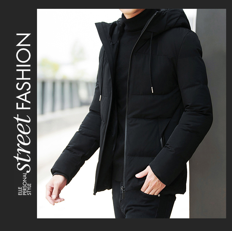 JSY Mens Puffer Cotton Padded Warm Stand Collar Casual Parka Jacket Coat