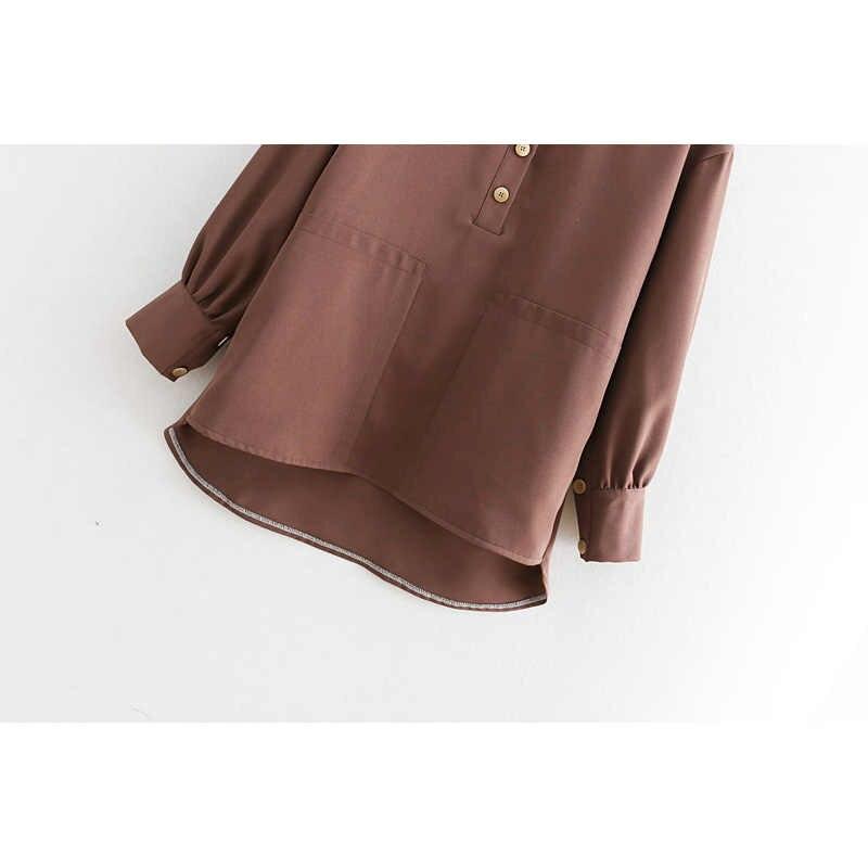 Moda Za bahar sonbahar katı bluz kadınlar gömlek sonbahar bayanlar fener kollu gömlek Casual bluzlar Vintage Tops Tops Zaraing