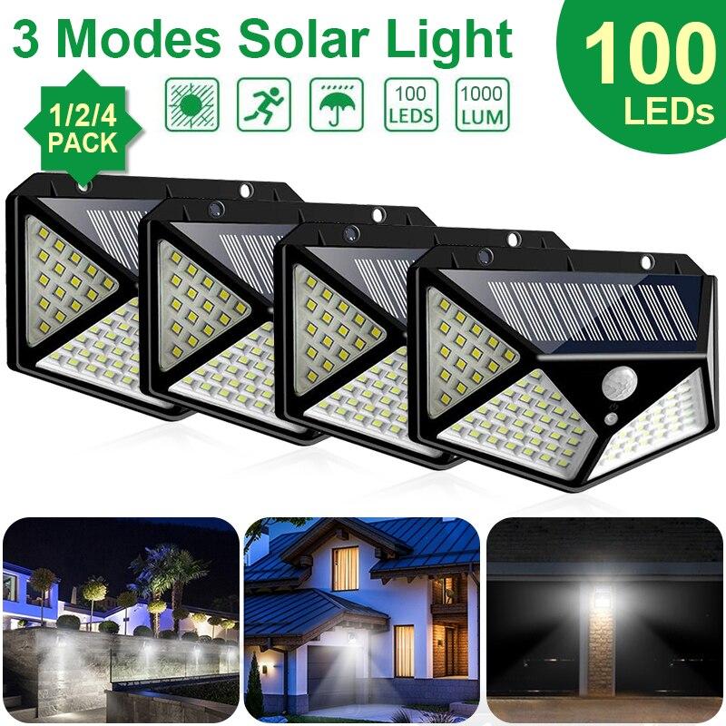Goodland 100 LED lumière solaire extérieure lampe solaire alimenté lumière du soleil 3 Modes PIR capteur de mouvement pour jardin décoration mur rue
