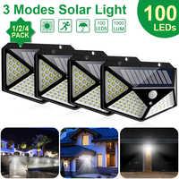 Goodland 100 LED luz Solar exterior lámpara Solar alimentada con luz Solar 3 modos PIR Sensor de movimiento para decoración de jardín Wall Street