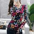 #5695 frühling Mode Print T Shirt Frauen V Neck Sexy Casual Vintage Stretch Grundlegende T-shirt Lange Ärmel Koreanischen Stil plus Größe 3XL