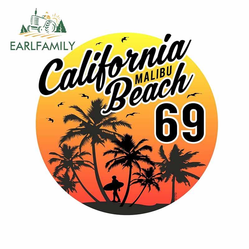 EARLFAMILY 13cm x 12.7cm for Retro Surf California Malibu Beach Car Stickers Windows Decal Scratch-proof Laptop VAN Car Styling