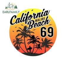 EARLFAMILY 13cm x 12.7cm pour Rétro Surf Californie Malibu Beach Autocollants De Voiture Fenêtres Autocollant anti-rayures Ordinateur Portable VAN de Voiture