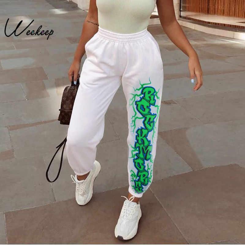 Weekeep Pantalones Elasticos De Cintura Blanca Estampados Para Mujer Ropa De Calle De Punto Pantalones De Tubo 2020 Pantalones De Moda Para Mujer Pantalones Y Pantalones Capri Aliexpress