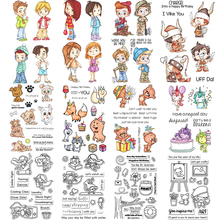 Cartoon Human Figure amp Animal Clear Stamps Card Making Clear Stamps for Scrapbooking Album Decorative Silicon Stamp Craft cheap Standard Stamp Rubber Decoration