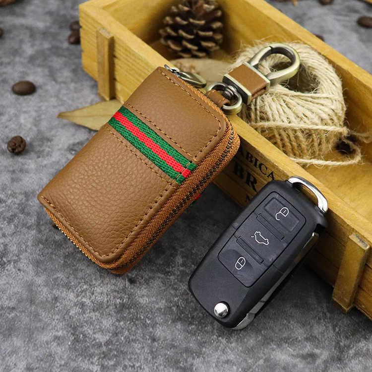 صندوق حافظة مفاتيح من الجلد الأصلي للسيارة نمط سيارة مفتاح الحقيبة الحيوان يطبع برميل على شكل مفتاح ذكي حامل