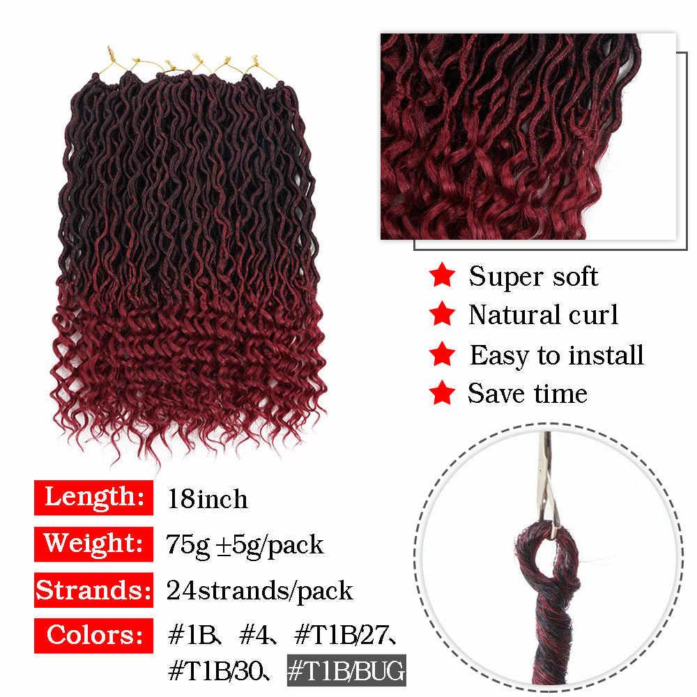 Silky Strands Curly Goddess Faux Locs Crochet Hair Extensions Synthetic Ombre Braiding Hair Bulk Bohemian Crochet Braids