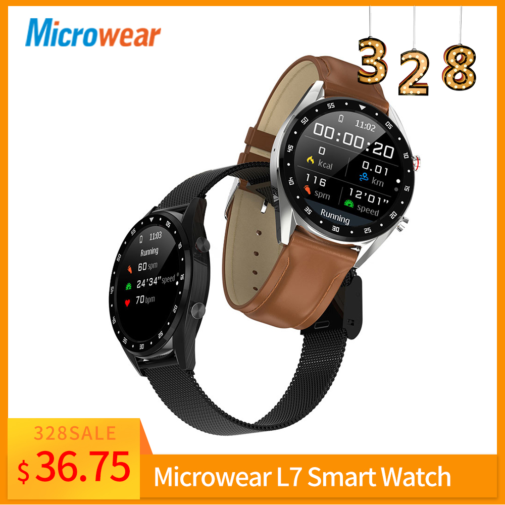 USA Warehouse <font><b>L7</b></font> Smart Watch Microwear Blood Pressure/Bluetooth/GPS/Sleep monitor <font><b>Smartwatch</b></font> Fitness Men Women image