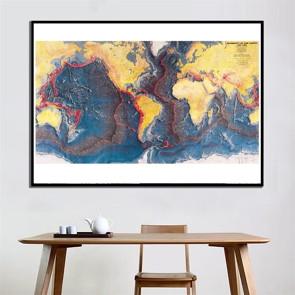 2x4ft 1960-1980 Seismicity Of The Earth Home Office Wall Decor Canvas Painting Living Room Decor Map