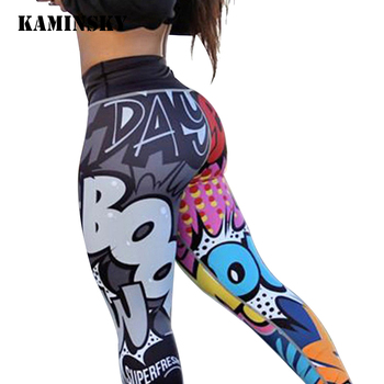 Kaminsky Colourful Digital Printed Leggings Cute Cartoon Anime Women Pants High Waist Push Up Mujer Workout Fitness Leggings image