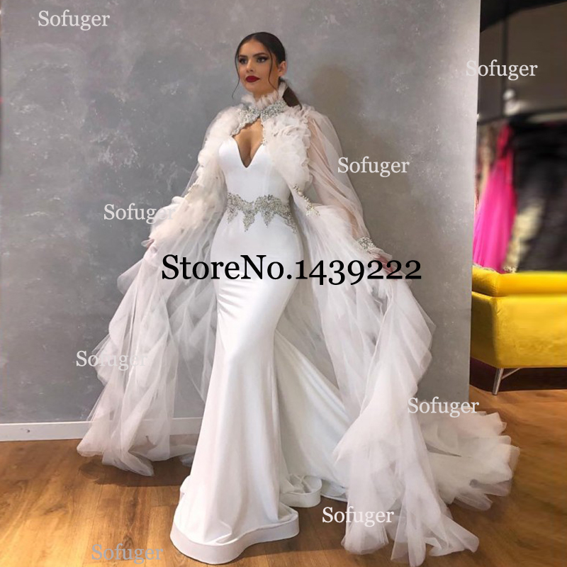 White Mermaid Fabulous Evening Dresses Satin Big Cape Spaghetti Saudi Arabic Special Occasion Evening Formal Prom Party Gown
