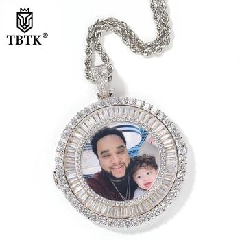 TBTK Cuban Zirconia Custom Made Circle Photo Medallions Pendant Necklace & Pendant Gold Color Best Gifts Jewelry Drop shipping her jewellery cute small bear pendant necklace best fashion pendant made with crystals from swarovski hp0538