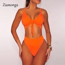 One-Piece Swimsuit Monokini Thong Ziamonga Hollow-Out Plus-Size Female XL Solid Women