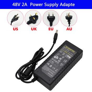 LED Driver AC 100-240V to DC 48V 2A strip light Power Supply Charger Adapter Transformer 220V 48V 96W Converter with power cord genuine meanwell driver elg 100 48a 96w 2a 48v adjustable led power supply