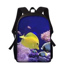 15inch Tropical Fish 3D Print Children School Bags For Boys Girls Primary School Backpacks Schoolbags Kids Mochila Infantil Zip