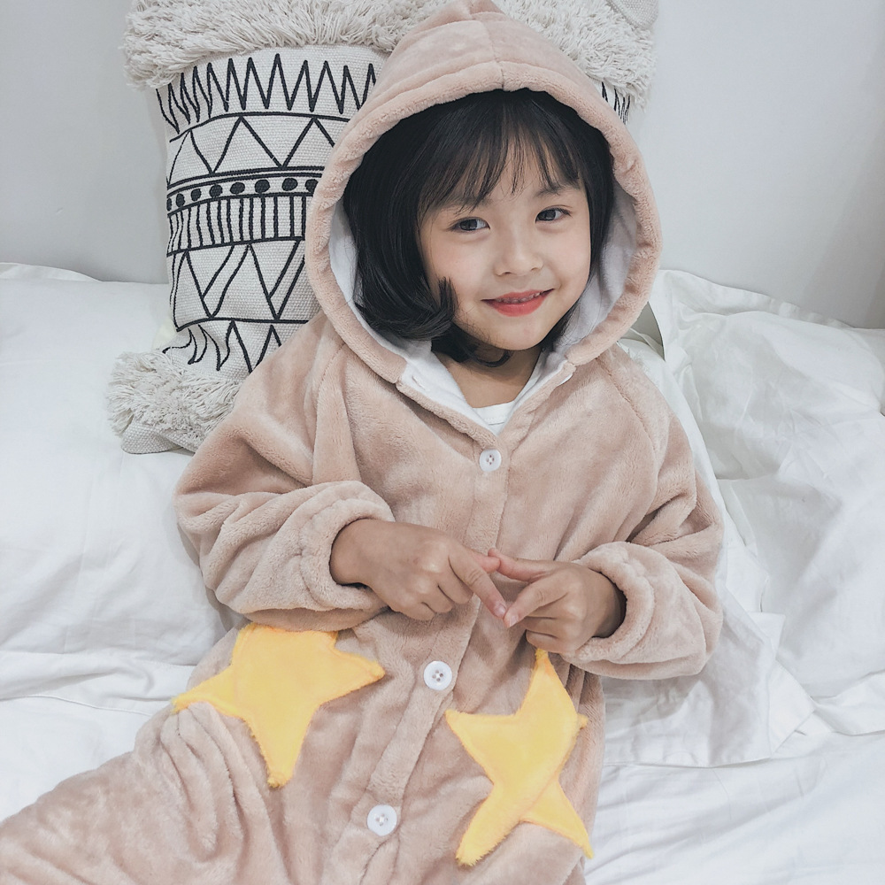 Girls 2018 Douyin Celebrity Style Autumn And Winter Star Nightgown Long Coral Velvet Pajamas Casual Household Nightgown Dk337